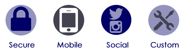 secure, mobile, social, custom